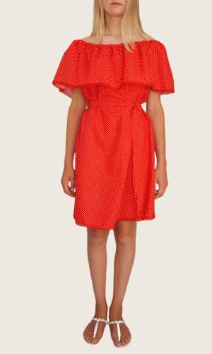 Robe courte Rouge pois blanc<br> Limitée 5 pièces