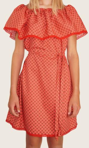 Robe courte Rouge fleurs<br>Limitée 10 pièces